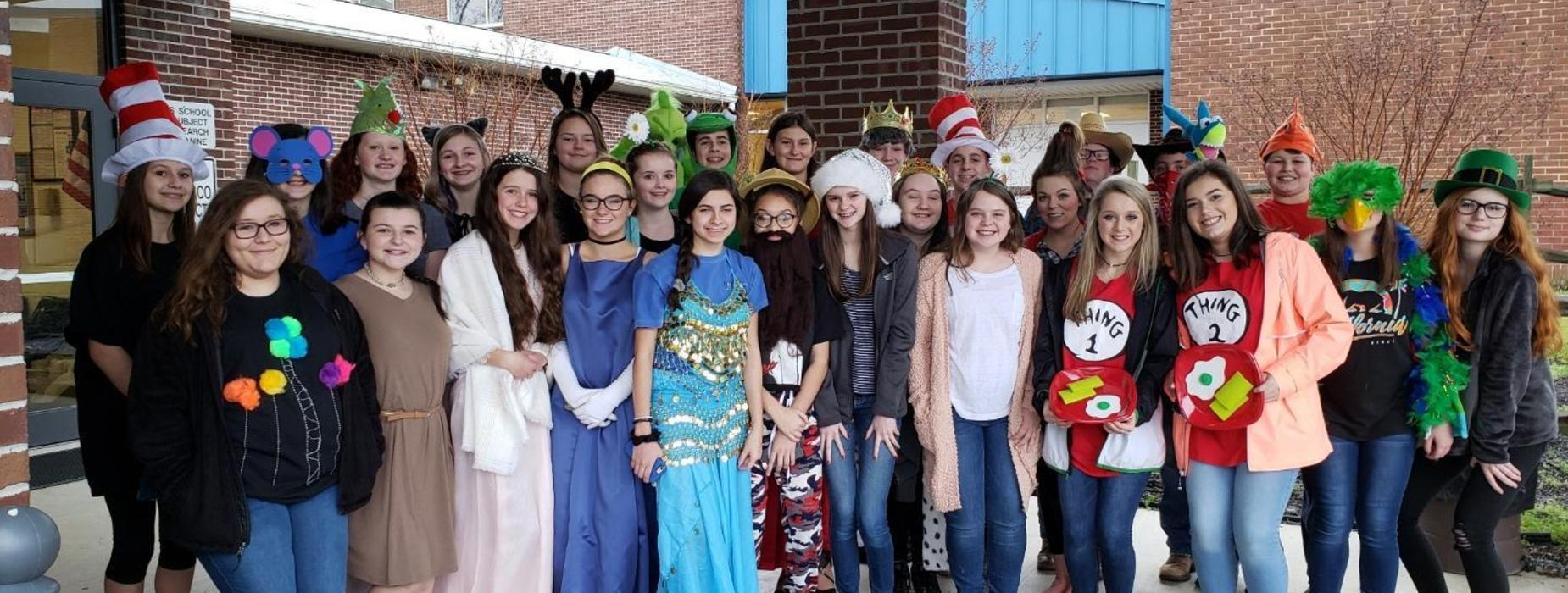 Beta Club dressed up for Read Across America