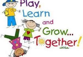 Children Playing and it say play, learn, grown together