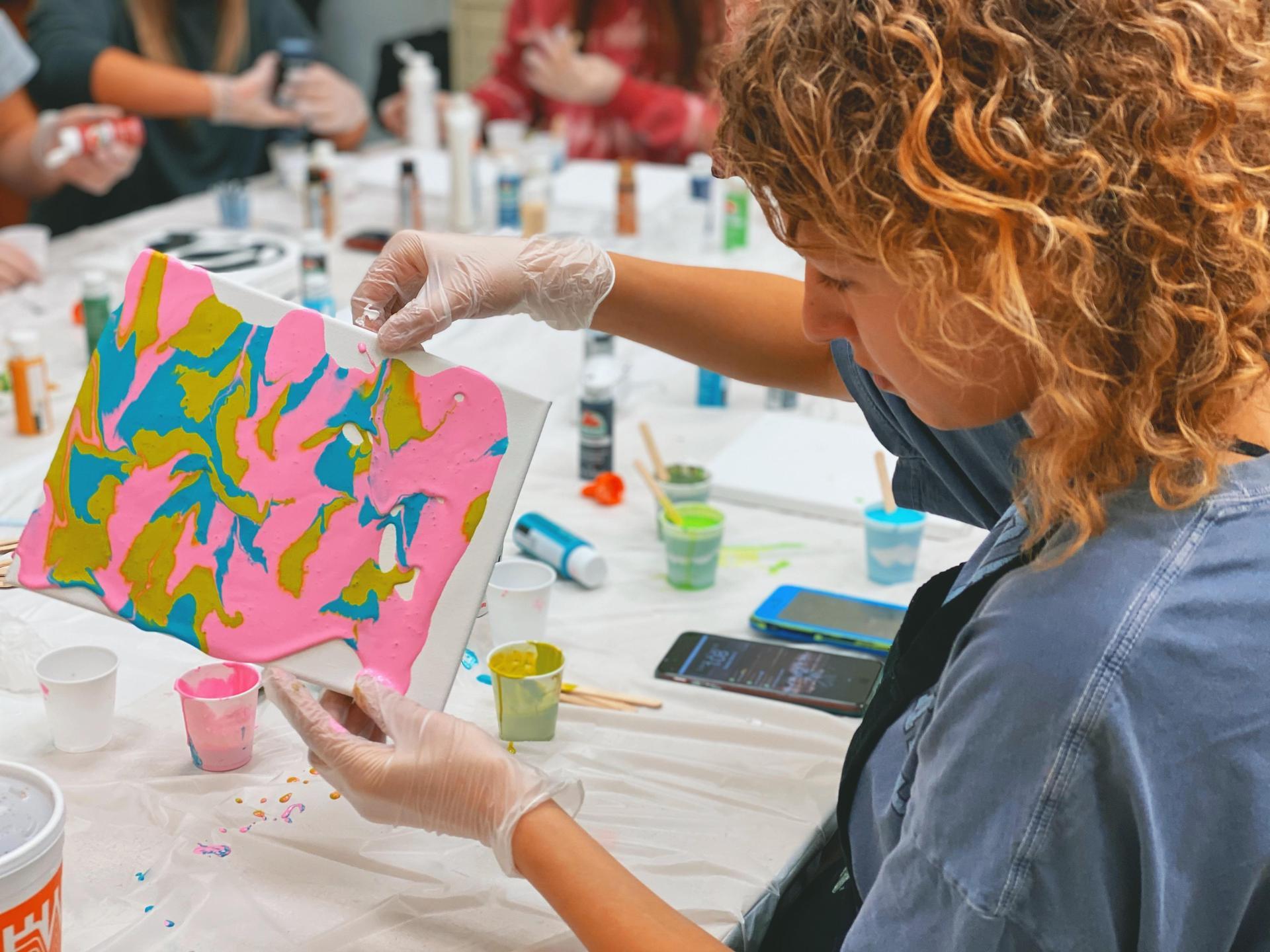student in high school art