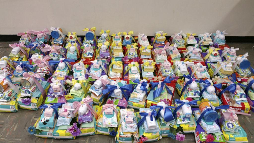Baby items prepared to be donated