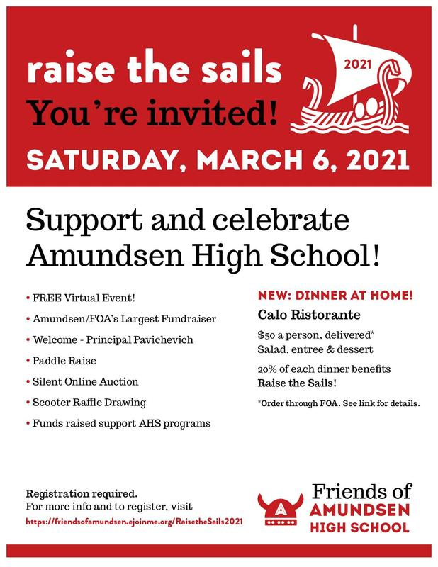 Support and Celebrate Amundsen High School at FOA's Raise the Sails 2021! Featured Photo