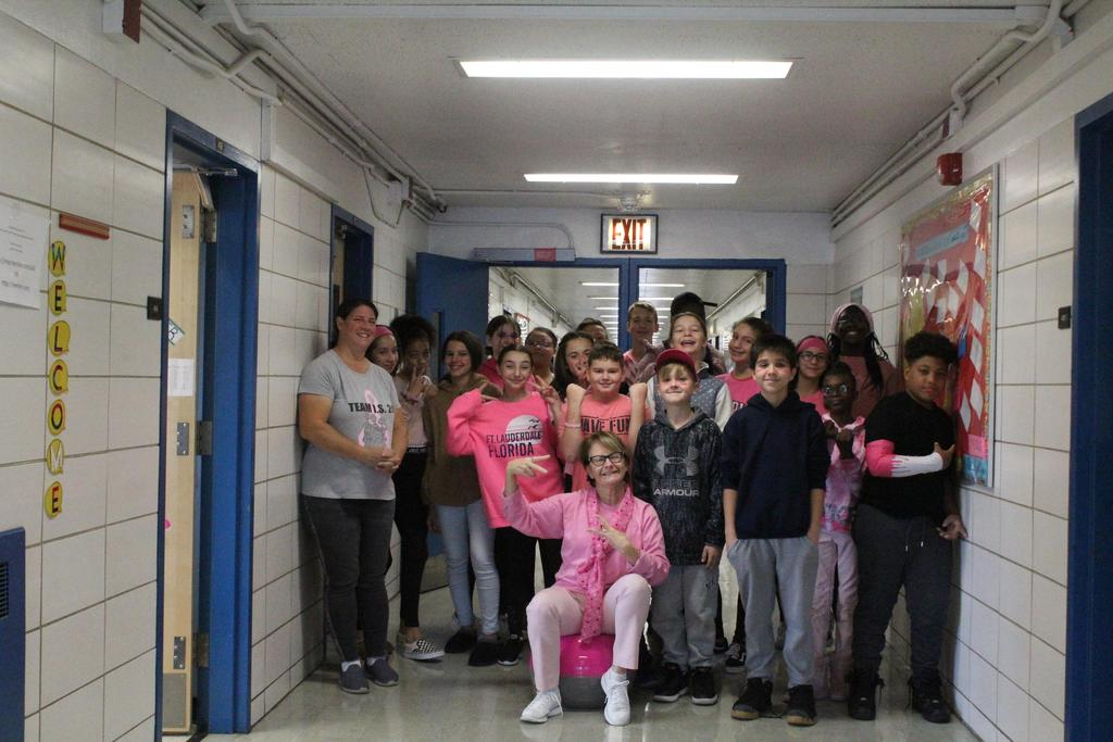 seventh graders wearing pink