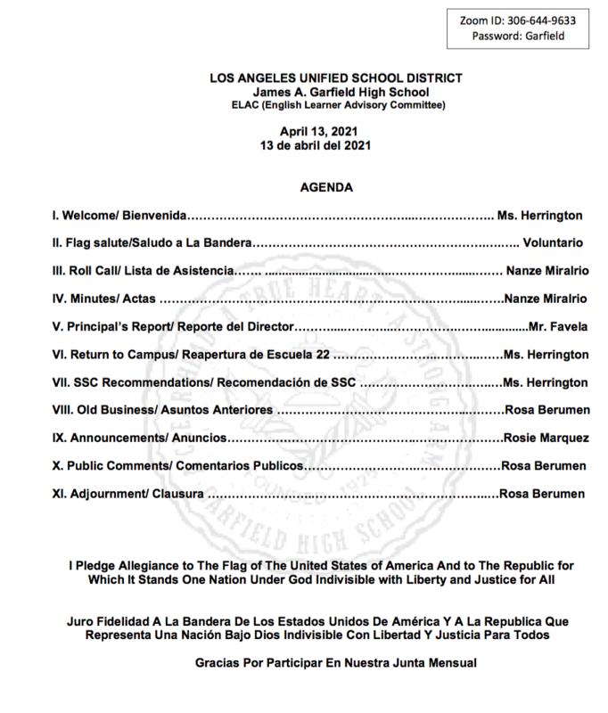 James A. Garfield High School ELAC (English Learner Advisory Committee)