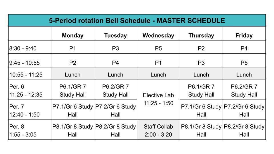 New Bell Schedule, effective 10/26/20