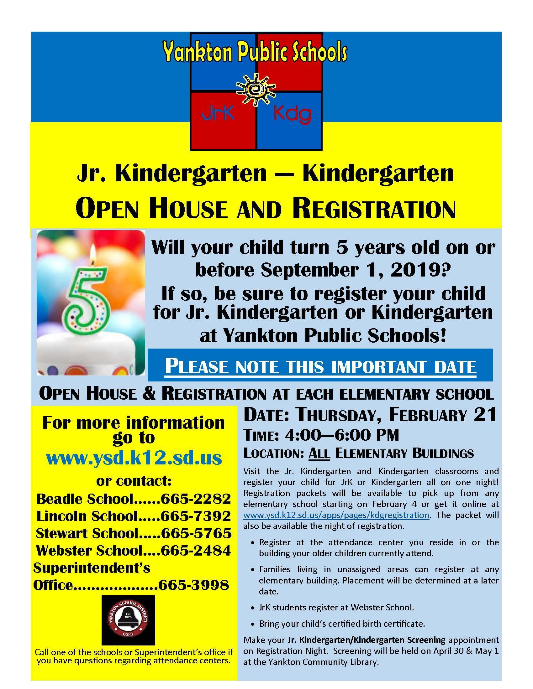 JrK/Kindergarten Registration Information - New Category - Yankton