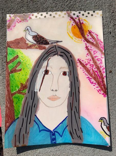 Finished self portrait from an arts class project at HudsonWay Immersion School