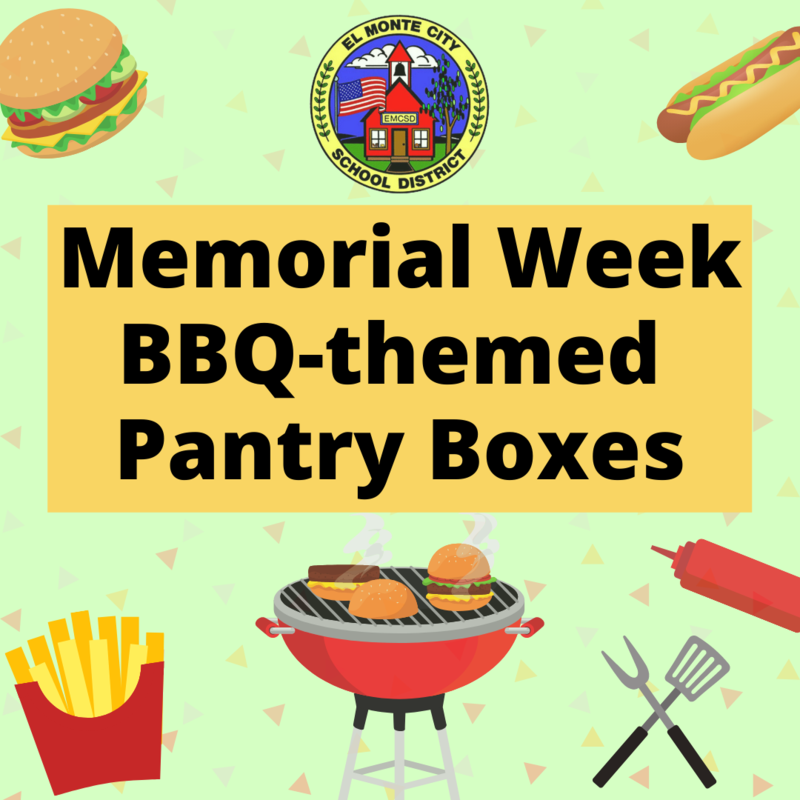 Graphic advertising BBQ-themed pantry box stating: Memorial Week BBQ-themed pantry boxes