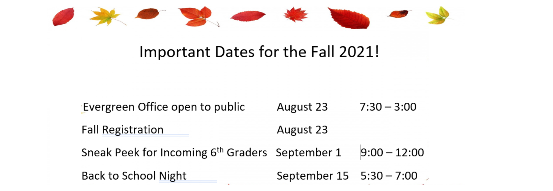 Dates for Fall 2021