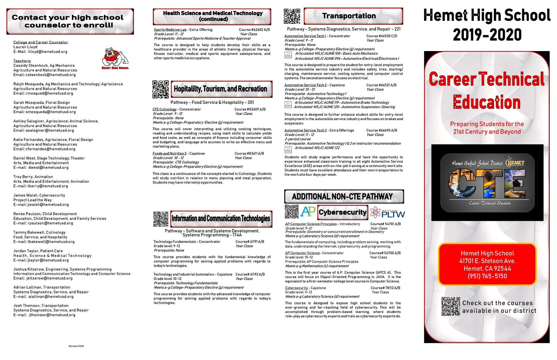 Hemet High School CTE Brochure