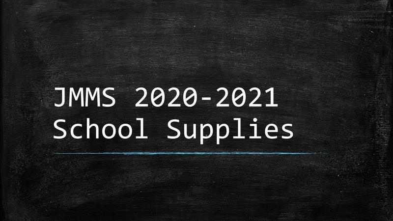 JMMS 2020-2021 School Supply written on a chalkboard background