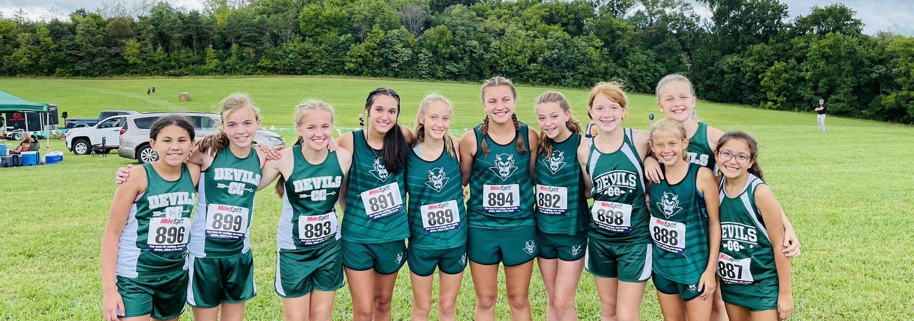 a picture of the GMS girls cross country team