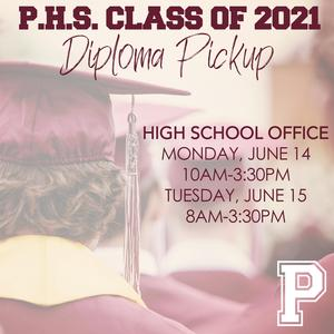 Perry High School graduates of 2021 can pickup their diplomas and graduation packet on Monday from 10am-3:30pm and Tuesday from 8am-3:30pm in the High School Office. If you have any questions please call the office at 336-4415.