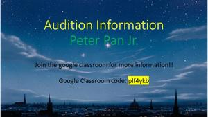 Peter Pan Audition Information