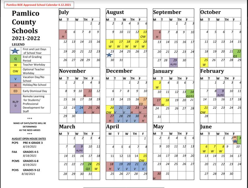 Updated Calendar for 2021-2022 School Calendar