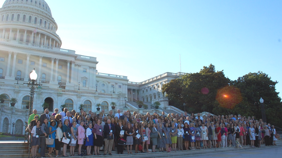 Group photo of advocates in front of the U.S. Capitol