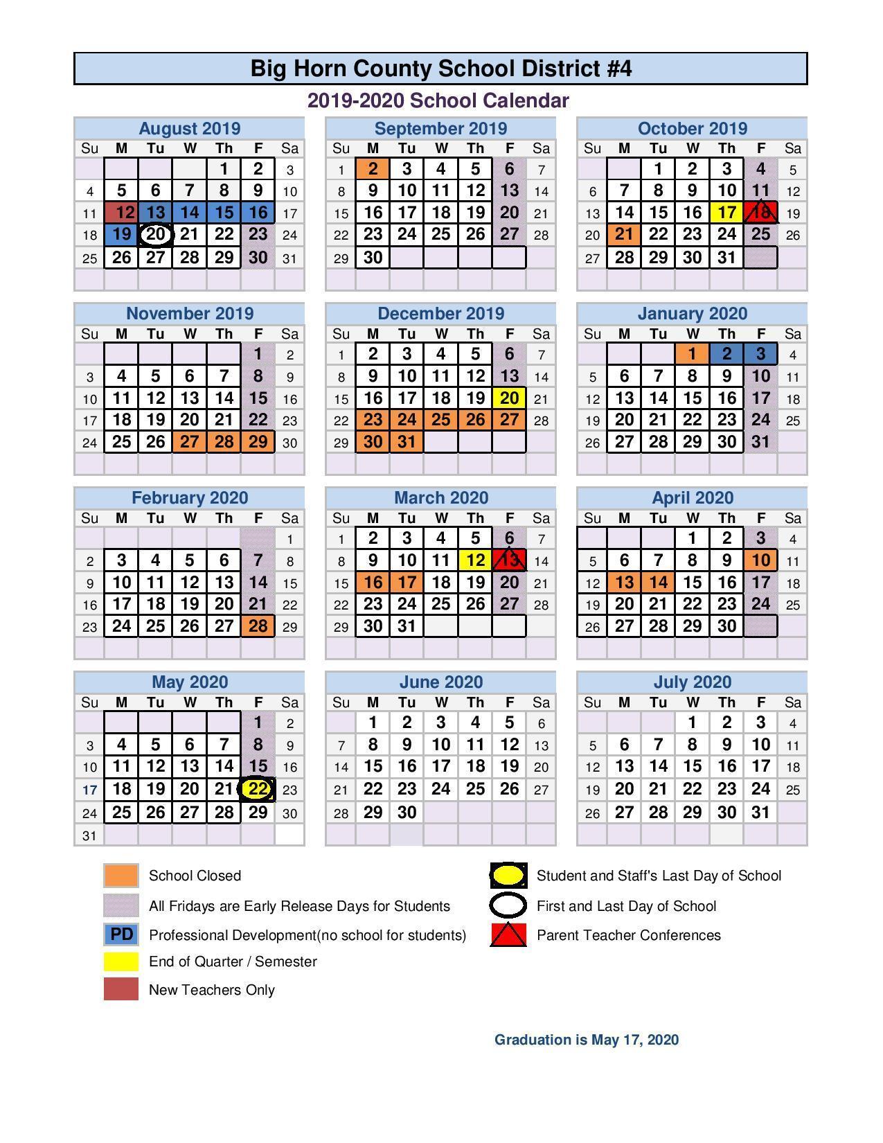 2019 2020 School Calendar