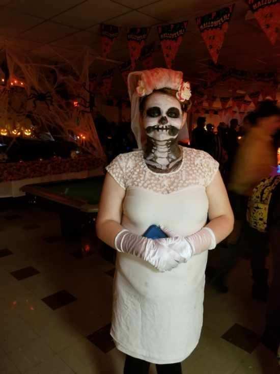 Student dressed up as a skeleton bride