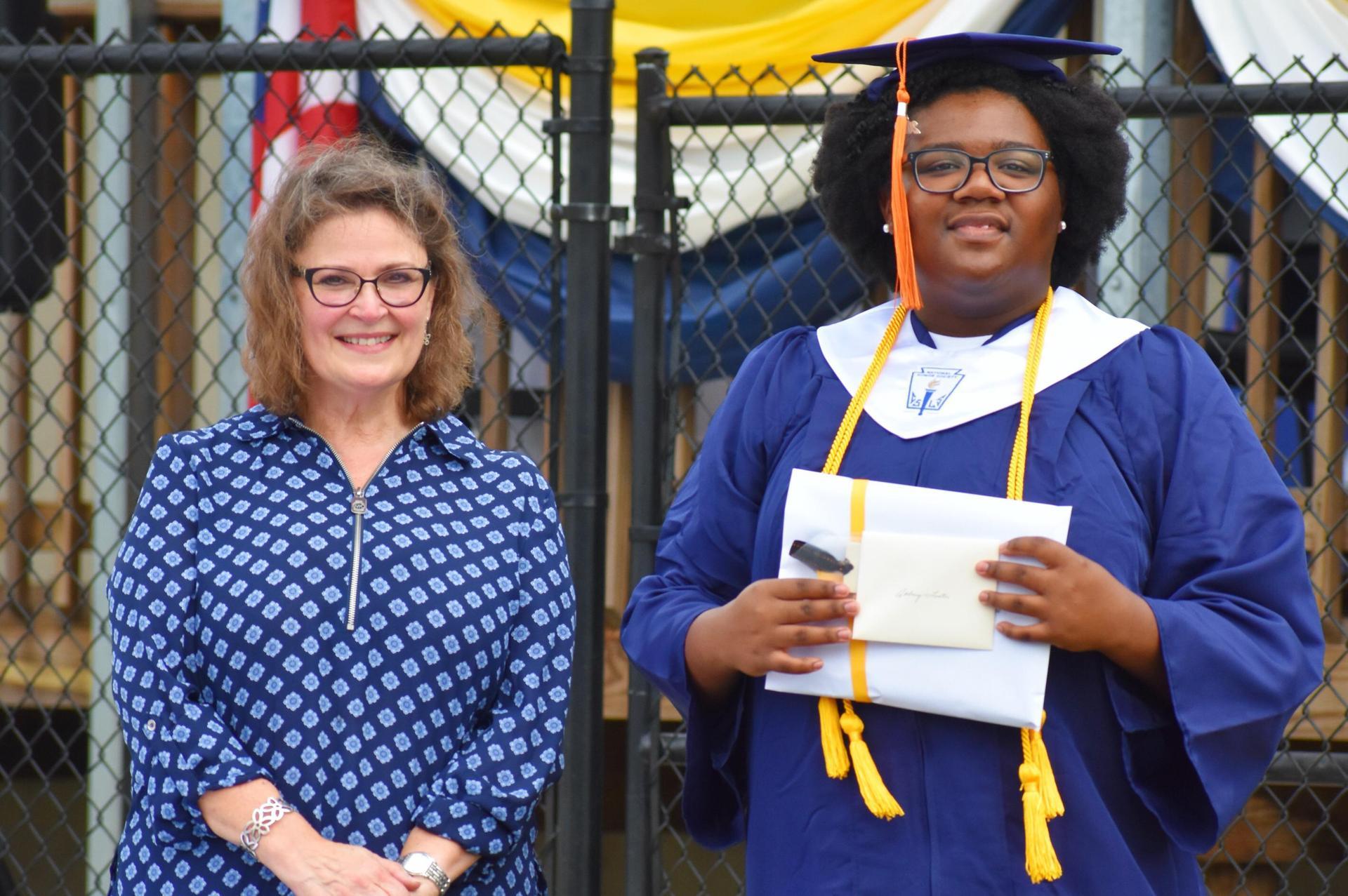 Brenda Davidson, Superintendent/Headmaster and graduating 2020 senior, Aubrey L.