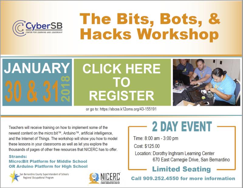 Bits, Bots, & Hacks Workshop for CTE Instructors Thumbnail Image