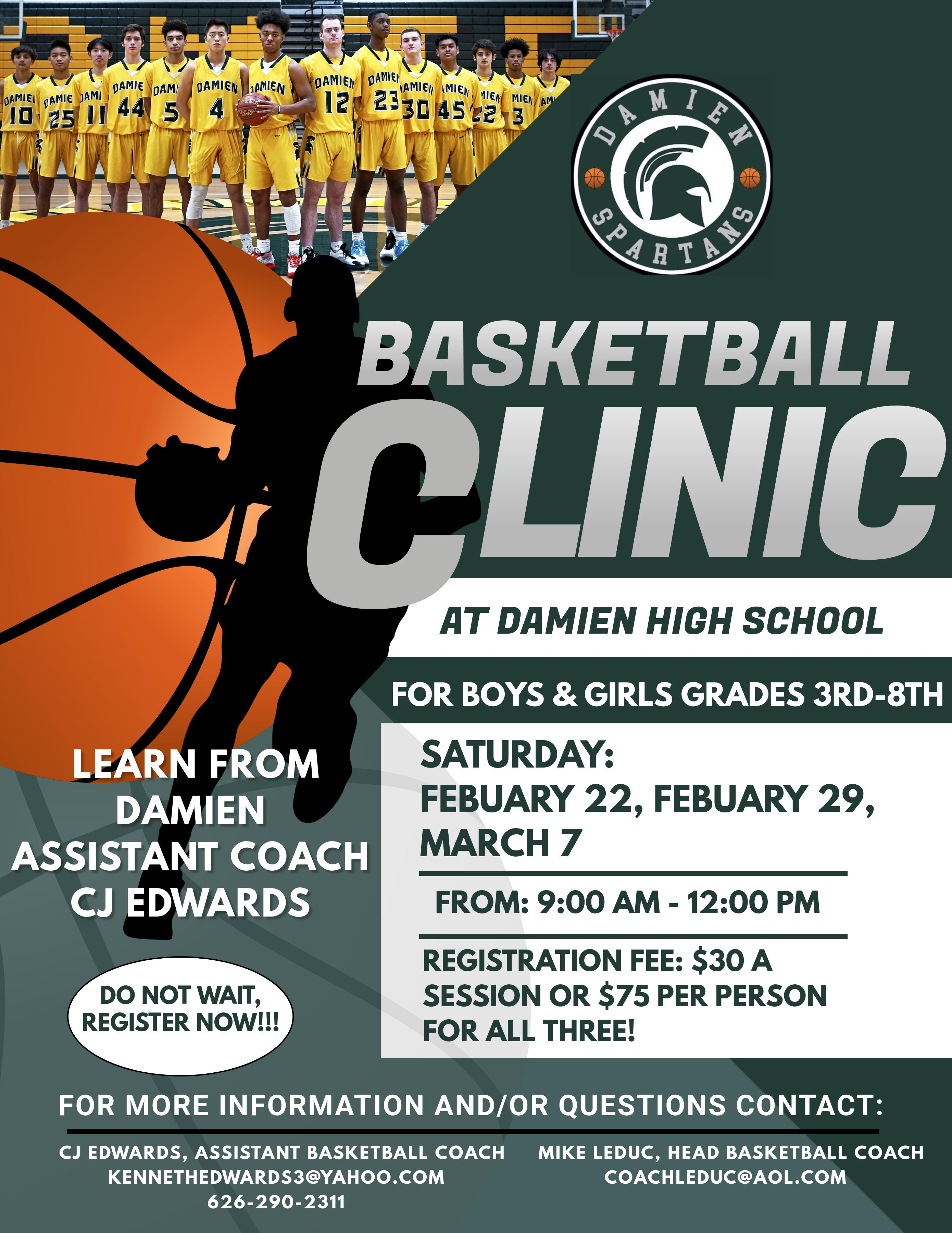 2020 Youth Basketball Clinic Flier