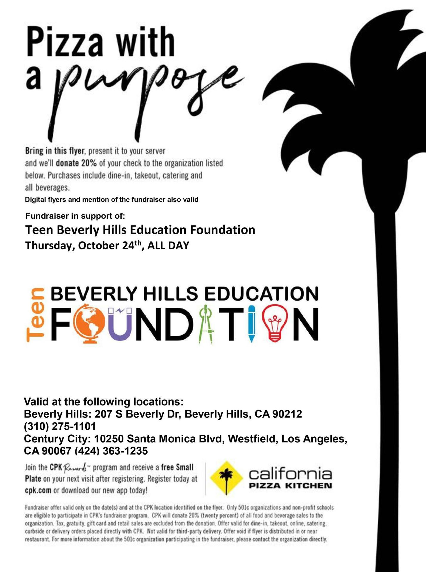 teen bhef cpk fundraiser October 24 beverly hills and century city locations