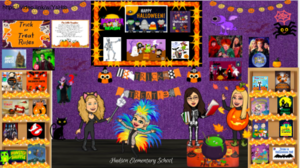 Virtual bitmoji Halloween classroom