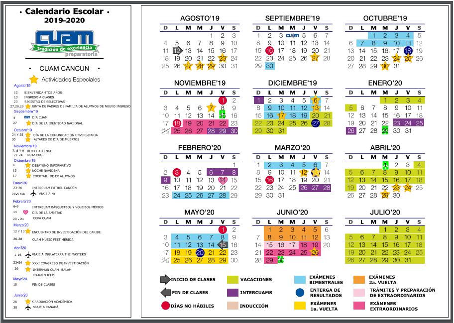 Calendario Universitario.Calendario Escolar Cuam Cancun Centro Universitario