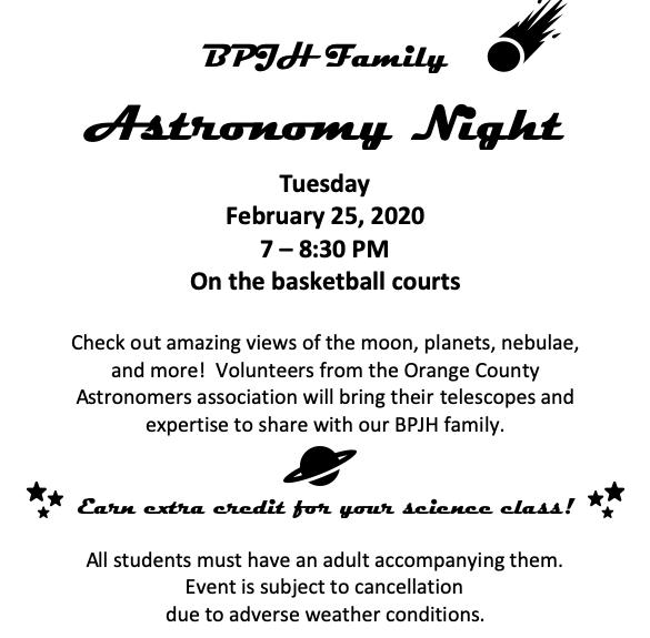 Astronomy night is Feb. 25