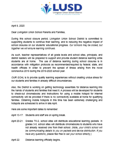 Parent Update on Distance Learning