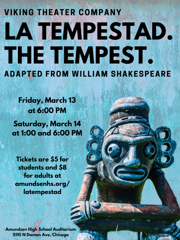 Shakespeare is coming to Amundsen on March 13th and 14th.  Buy your tickets now! Featured Photo