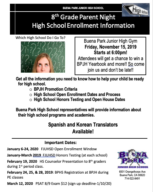 8th Grade Parent Information Meeting-Friday, November 15 6:00-7:30PM Featured Photo