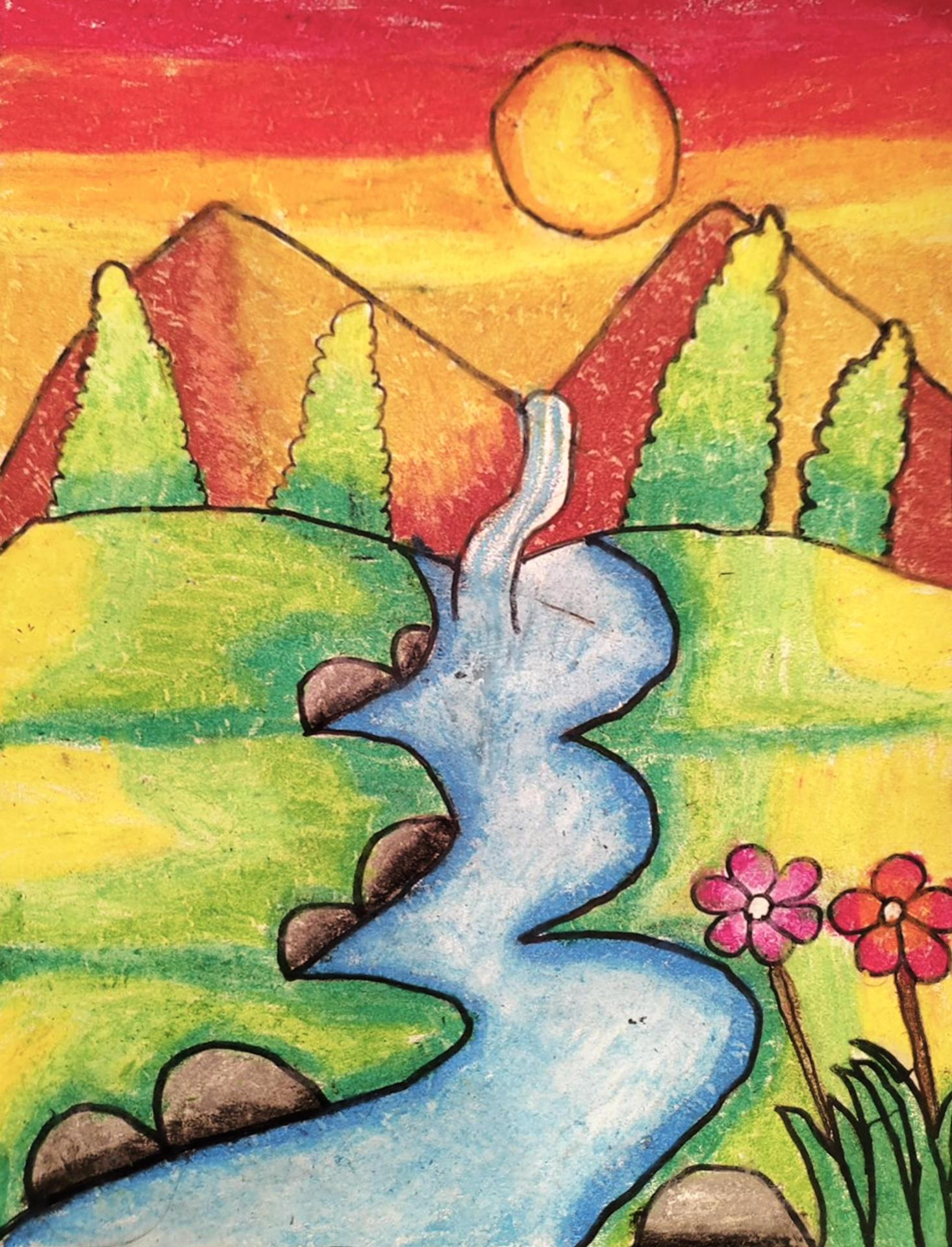 An elementary school student's brightly colorful landscape drawing of mountains, flowers, and a stream