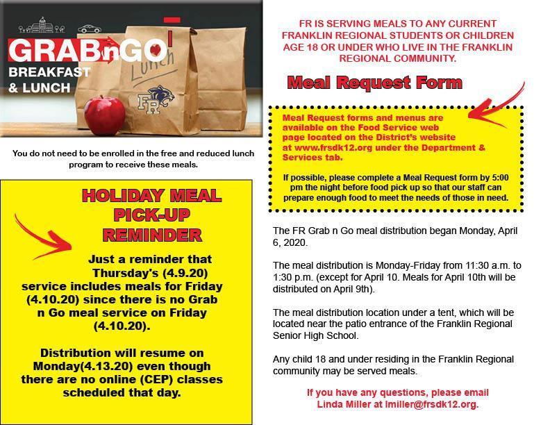 Holiday Grad n Go Information flyer for April 8, 2020