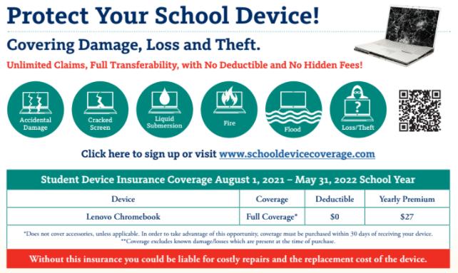 Chromebook Insurance Deadline extended to October 5, 2021