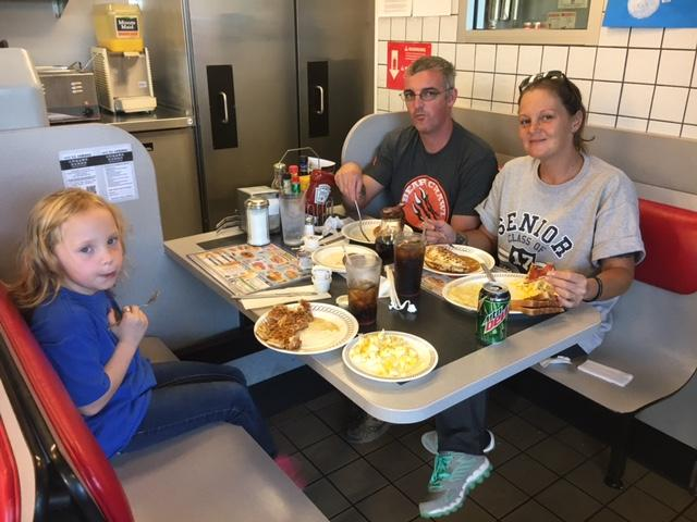 Eating together at Waffle house spirit night