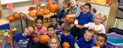 West Elementary Pre-K students are learning counting, weighing, and much more with their classroom pumpkin patch!