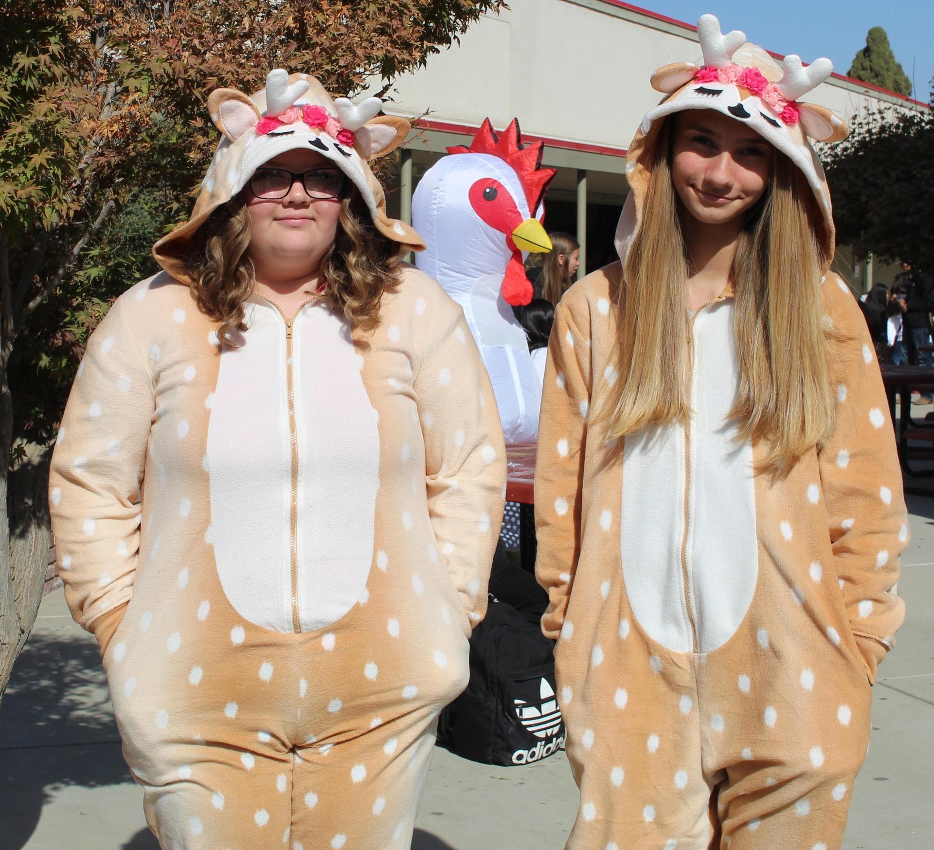 Kayla Cortez and Haylee Kazazian as deers