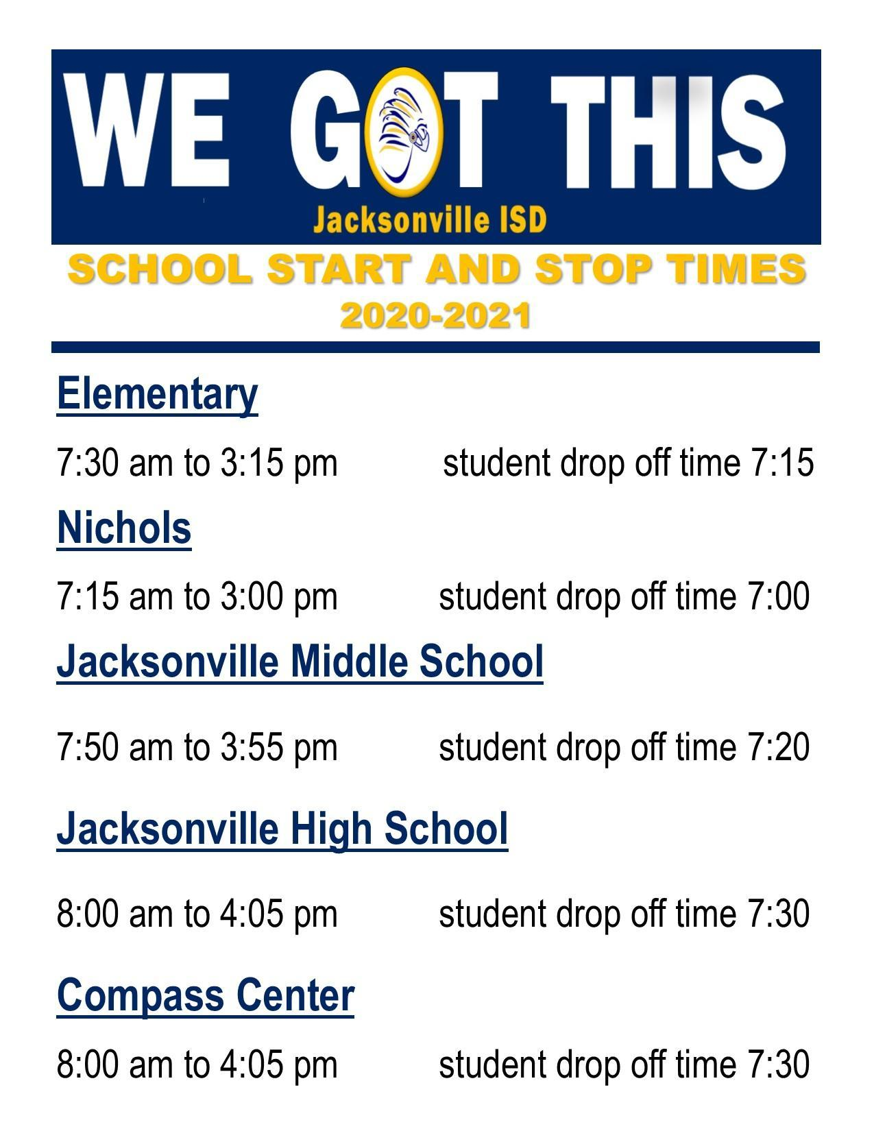 school start stop times