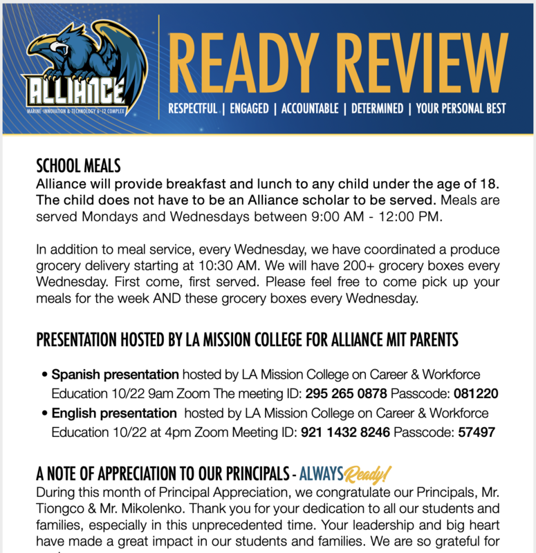 READY Review:  October 19 - 23, 2020 Thumbnail Image
