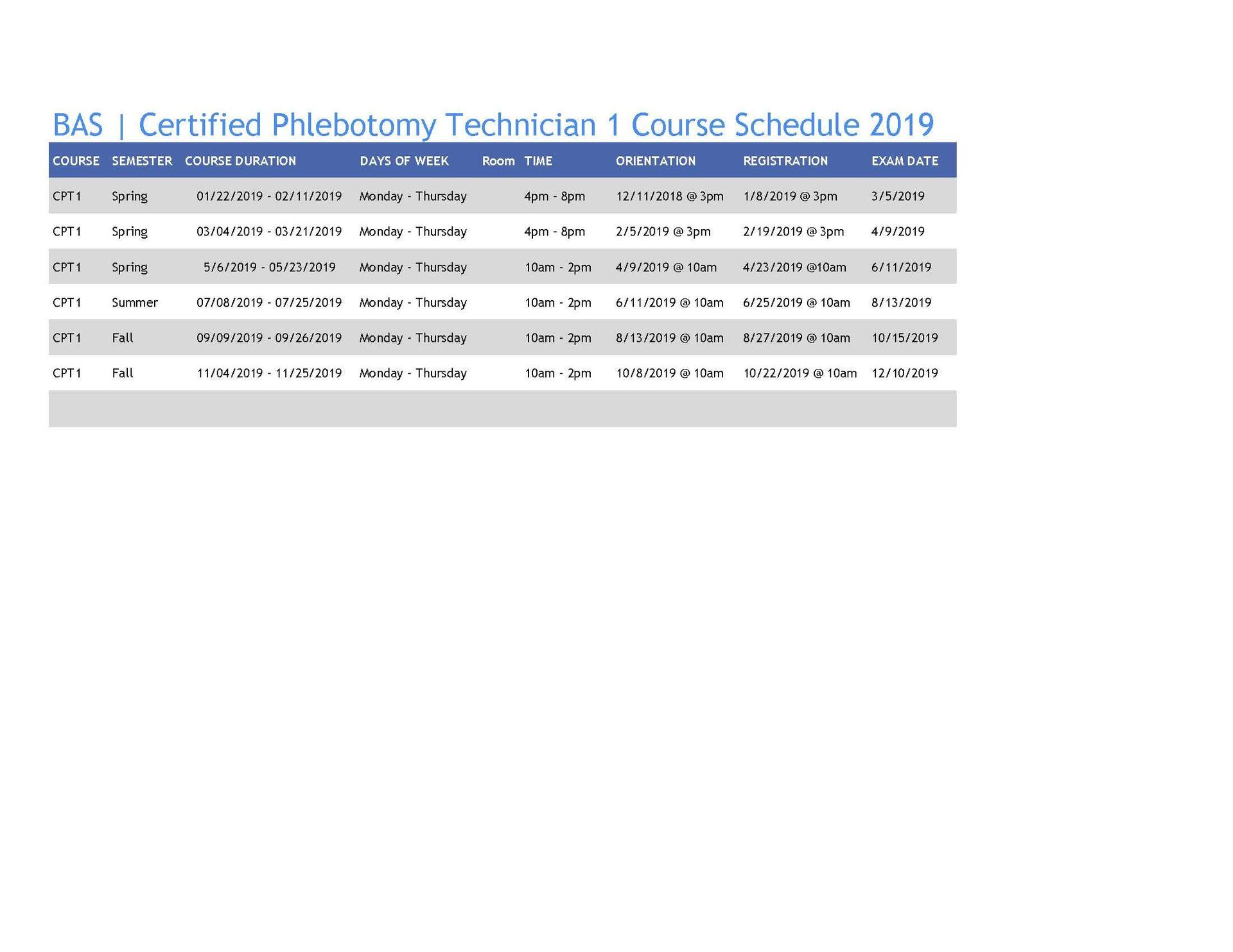 2019 Phlebotomy Schedule