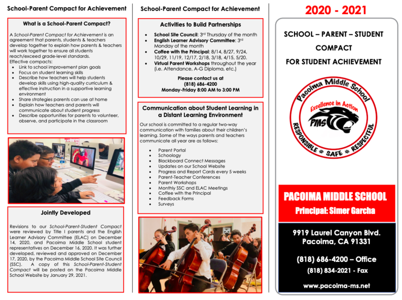 LAUSD and Pacoima MS Parent and Family Engagement Policy / Pacoima MS- Parent-Student Compact Featured Photo