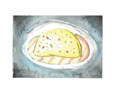 Drawing of a breakfast burrito on a plate.