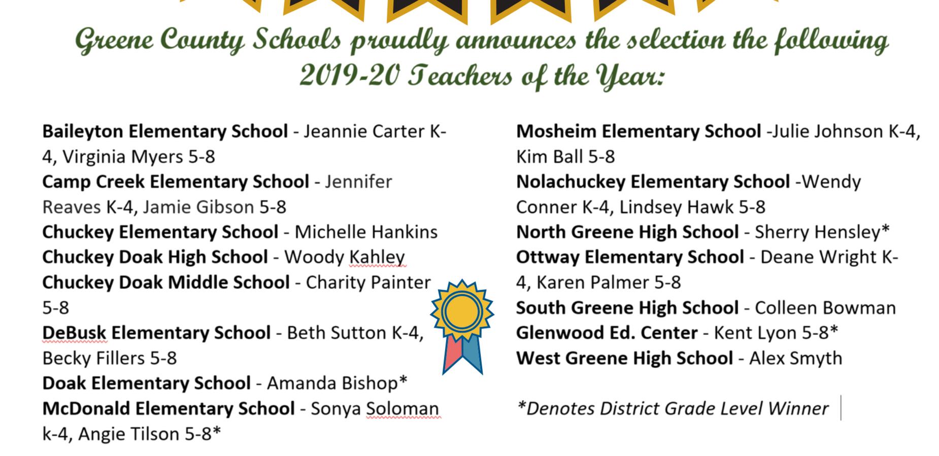2020 GCS Teachers of the Year