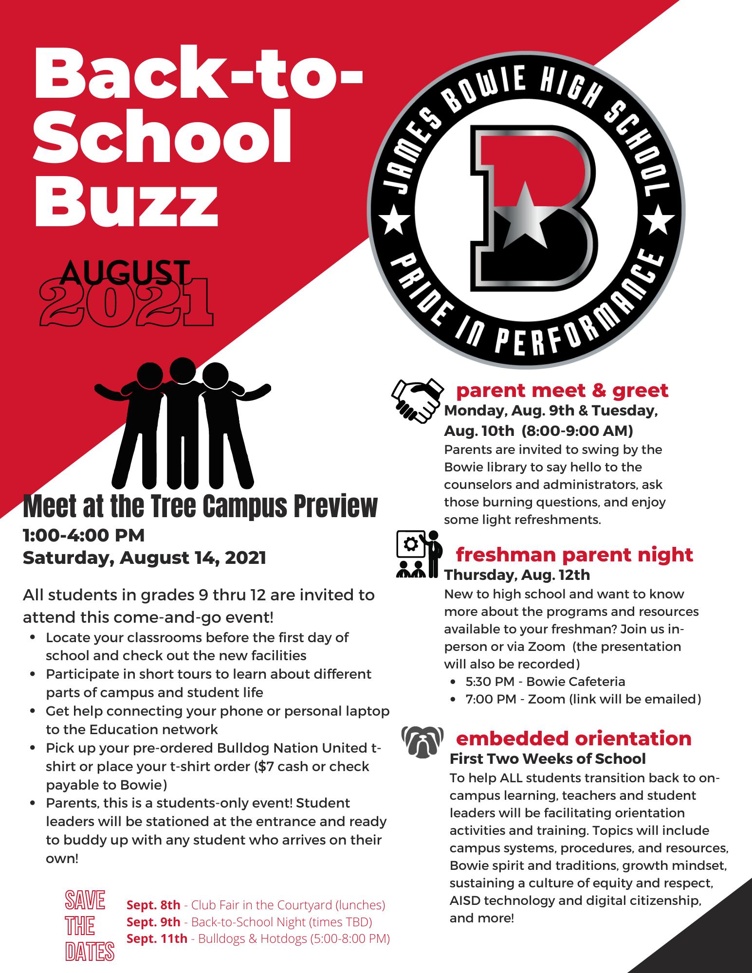 Back to School Buzz flyer