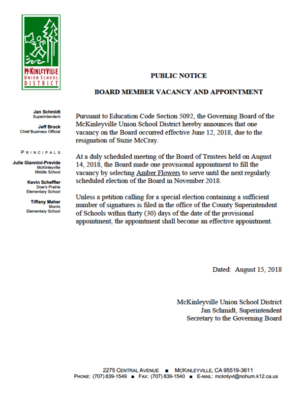 Public Notice of Board Appointment