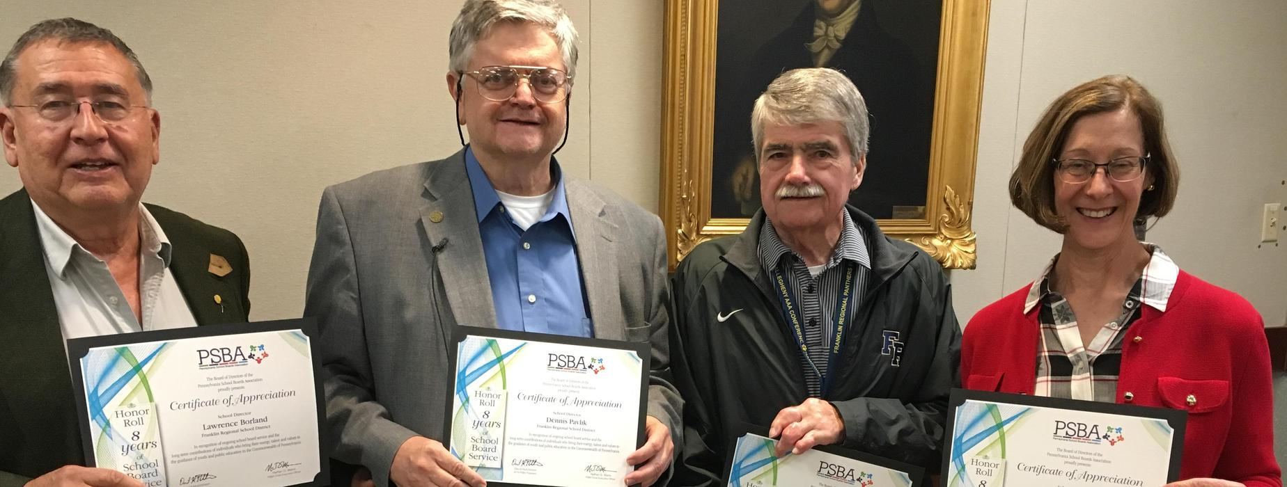 PSBA honors four FR School Directors with service award certificates. Shown are Dr. Larry Borland, Dennis Pavlik, Herb Yingling, and Jane Tower.