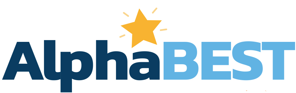AlphaBest logo, featuring a yellow star over the 'a'