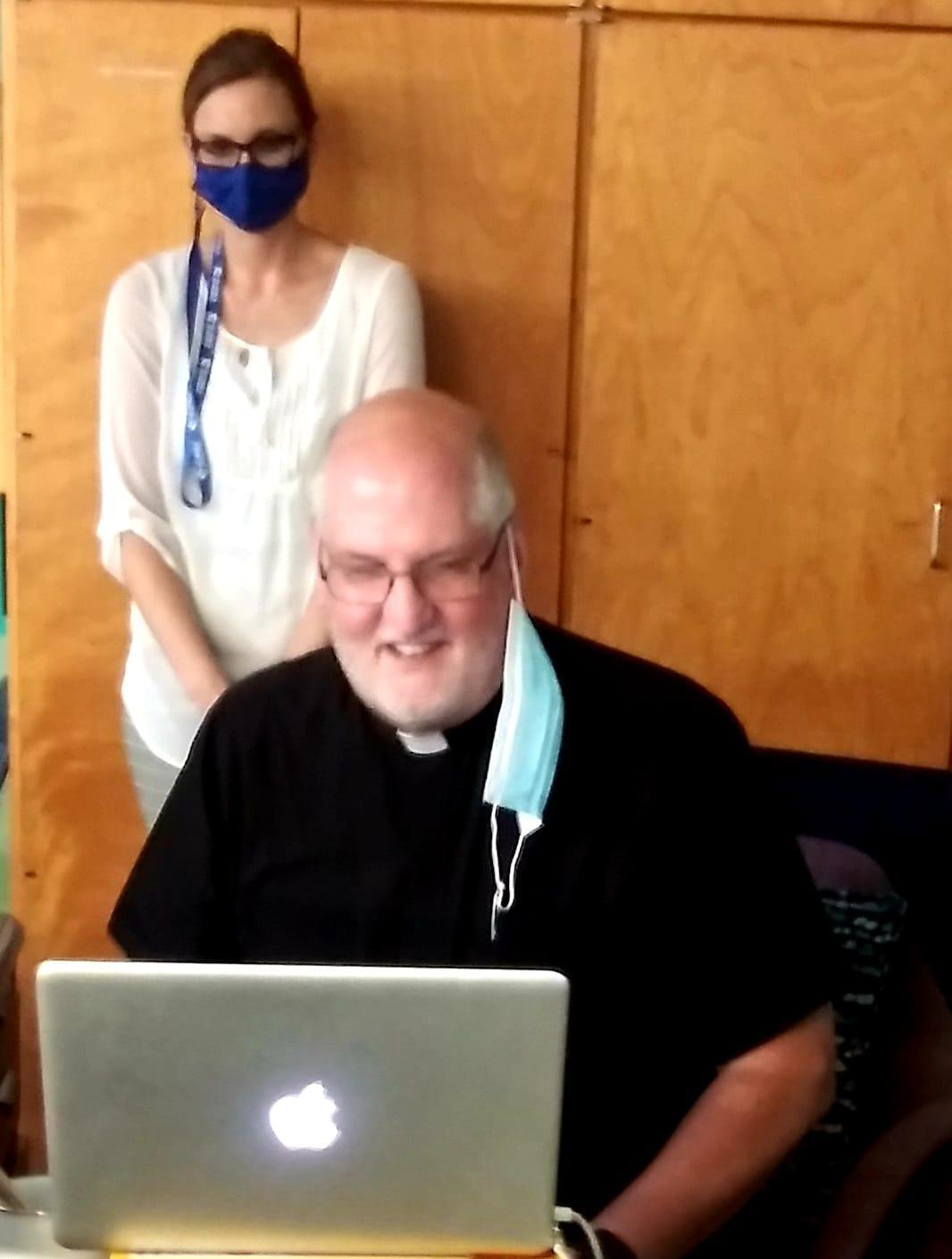 Father Paul joining a Google Meet