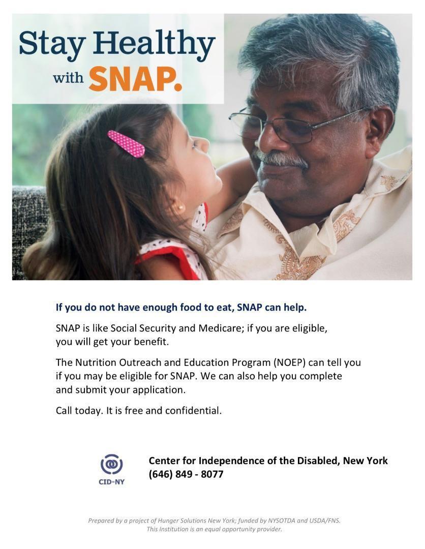 Food Assistance Program SNAP information flyer