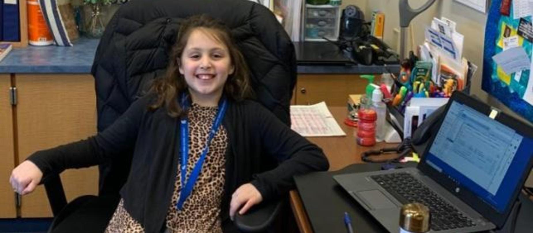 Student being principal for the day